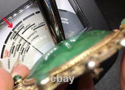 Antique Estate VICTORIAN Era Green JADE JADEITE Sterling Silver Huge Brooch 34g