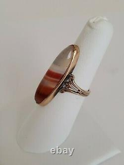 Antique Estate Victorian 10k Gold & Banded Agate Stone Ring Size 6 1/2
