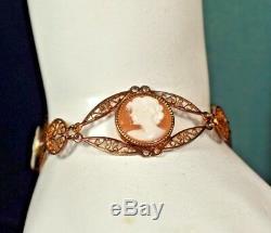 Antique Estate Victorian 14K Gold Shell Cameo 7 Bracelet