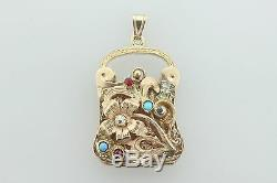 Antique Estate Victorian 14K Yellow Gold Diamond Purse Pill Box Locket Necklace