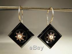 Antique Estate Victorian 14k Natural Pearl 14K Yellow Gold Jet Earrings