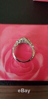 Antique Estate Victorian 18K white gold. 15 ct Diamond Filigree Ring 1886