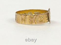 Antique Estate Victorian 375 9k Gold Etched Signet Heart Love Token Ring Sz 6