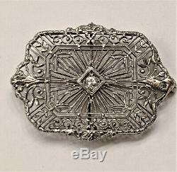 Antique Estate Victorian Diamond Filigree Pin- 14 KW Gold Exquisite