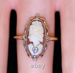 Antique Estate Victorian Filigree 10K Gold Shell Cameo Habille Diamond Ring 7.25