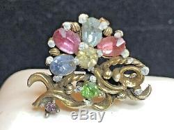 Antique Estate Victorian Mesh Tassels Bracelet 3 Pin Earrings Clip Art Deco