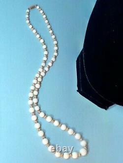 Antique Estate Victorian Necklace Brazilian Opal fluted 14K Gold Beads 15g