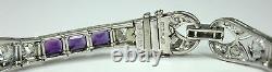 Antique Estate Victorian Platinum Bracelet 4.5ctw Diamonds 4.4ctw Amethysts