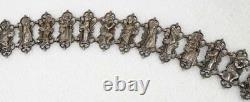 Antique Estate Victorian Silver on Copper Figural Children Storybook Plaque Belt