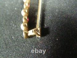 Antique Estate Victorian Solid 14K Gold Red Gemstone Pearl Bar Pin Brooch