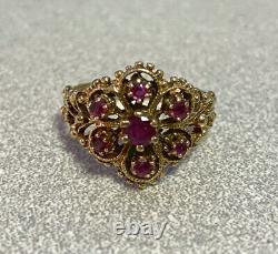 Antique Estate jewelry 14k yellow gold multiple stone garnet filigree ring s 6