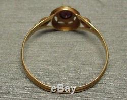 Antique European Victorian Estate C1890 14K Gold 0.25ct Oval Garnet Ring Sz 9