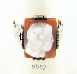 Antique Fine Vintage Victorian Shell Cameo 10K Gold Estate Jewelry Ring