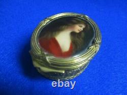 Antique French Miniature Painted Portrait Ormolu Trinket Box Red Skelton Estate