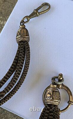 Antique Gold Filled Woven Hair Faith Hope Love Victorian Mourning Watch Chain