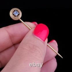 Antique Kashmir Blue Sapphire 14k Yellow Gold Stick Pin Victorian Estate Gift