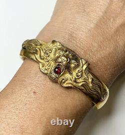 Antique Lion Clamper Bracelet. Gold Fill, French Paste Stones. Victorian Jewel