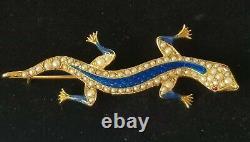 Antique Lizard Brooch Seed Pearl 14k Gold Enamel Ruby Estate Jewelry 8.2 gm