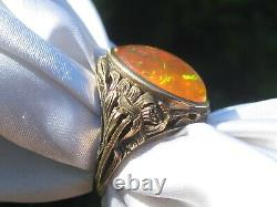 Antique Mexican Fire Opal Ring 14K Yellow Gold Victorian Period Estate Vintage