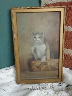 Antique Miniature Original Folk Art Oil Painting Cat Kitten In Basket Old Estate