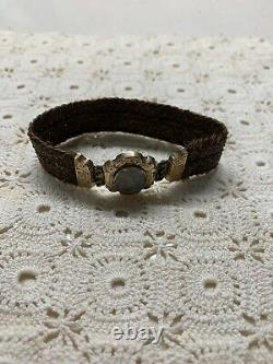 Antique Mourning Bracelet Jewelry 14K Gold Victorian Braided Brown Hair Repaired