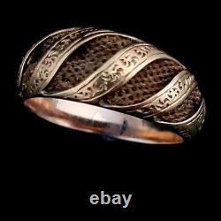 Antique Mourning Weaved Hairwork 14k Yellow Gold Ring Victorian 1800s Estate
