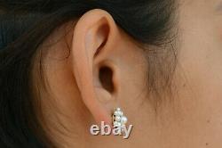 Antique Natural Pearl Stud Earrings Flower Cluster Heirloom Estate Jewelry Seed