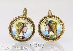 Antique ORV Estate 10K Gold Enamel & Hand Painted Portrait Victorian Earrings