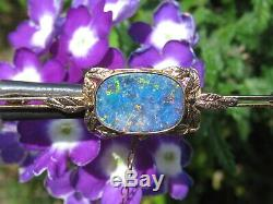 Antique Opal Brooch Pin Victorian Period 9ct Vintage Estate Leaf Safety Chain