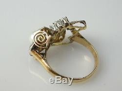 Antique Ring 14K Two-Tone Retro Art Deco Victorian Estate Pearl Clear Quartz
