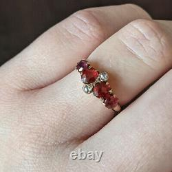 Antique Ruby Diamond Cocktail Ring Rose Cut Vintage Victorian Yellow Gold Estate