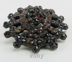 Antique Silver Bohemian Garnet Cluster Victorian Hidden Locket Mourning Pendant