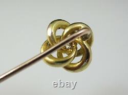 Antique Stick Pin Victorian Period Love Knot Old Mine Diamond Enamel 14K Estate