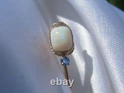 Antique Stick Pin Victorian Period Solid Opal Blue Sapphire Estate Vintage
