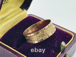 Antique Victorian 10K Rose Gold Floral Decorated Cigar Band Ring