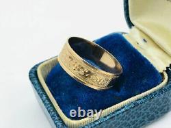 Antique Victorian 10K Rose Gold Grape Leaf Decorative Cigar Band Ring
