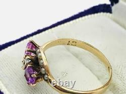 Antique Victorian 10K Rose Gold Pink Stone Diamond Pearl Ring