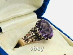 Antique Victorian 10K Rose Gold Purple Amethyst Claw Setting Ring