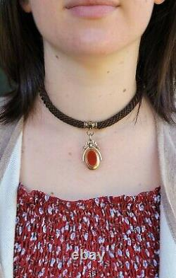 Antique Victorian 10k Gold Enamel Watch Fob Mourning Hair Necklace-Estate