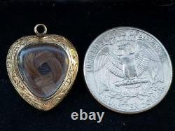 Antique Victorian 10k Gold Heart Mourning Locket Charm Pendant-Estate Jewelry 4g