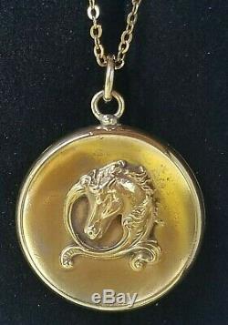 Antique Victorian 10k Gold Horse Locket Pendant Necklace-Estate Jewelry 5.2 gm