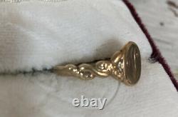 Antique Victorian 10k Gold Initial Plate V Vintage Estate Ring