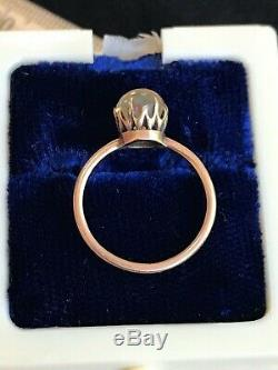 Antique Victorian 10k Gold Ring Unique Bezel And Stone Size 5.75 1870s Estate