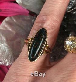 Antique Victorian 10k Rose Gold Bloodstone Ring Vintage Estate