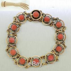Antique Victorian 12k Solid Yellow Gold Angel Skin Coral Slide Bracelet