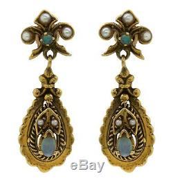 Antique Victorian 14K 585 Yellow Gold Estate Drop Dangle Opal Pearl Earrings