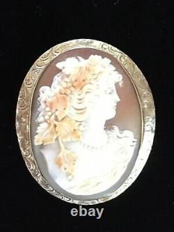 Antique Victorian 14K GOLD Carved Shell Cameo Pin Brooch Pendant FABULOUS Estate