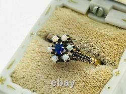 Antique Victorian 14K Gold Blue Stone Opal Cluster Ring