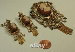 Antique Victorian 14K Gold Cameo Pearl Pendant Brooch Earring Set Estate Jewelry