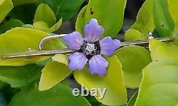 Antique Victorian 14K Gold Floral Brooch Enamel Diamond-Estate Jewelry 2.3g